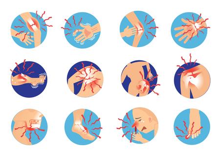 Skośne złamanie kości człowieka Silny ból Anatomia. ilustracja kreskówka wektor Ilustracje wektorowe