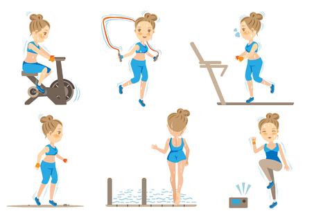 Cartoon Female doing cardio exercise.Vector illustrations Reklamní fotografie - 91375938