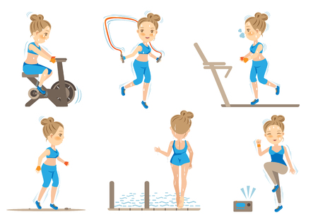Cartoon Female doing cardio exercise.Vector illustrations
