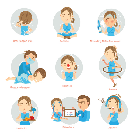 Pain Management Tips for Living With Chronic Pain.Cartoon vector illustration