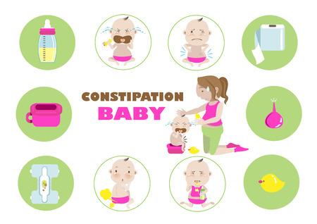 Constipatie baby .vector illustratie