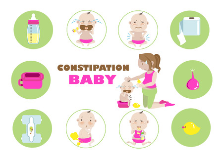 Constipation baby .vector illustration