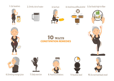 Remedies for constipation info graphics,.vector illustration.