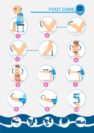 Exercise foot Vector illustrations Vectores