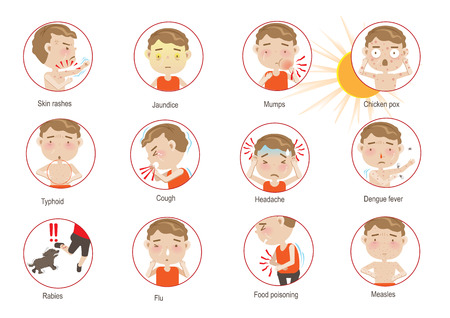Info graphics Disease Summer cartoon circle. Vector illustration.