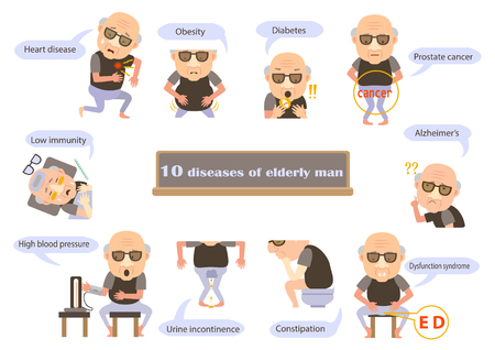 Elderly man of symptoms illustration. Illustration