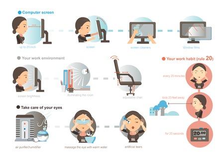 働く女性の目の疲労の予防.イラスト、漫画、ベクトル