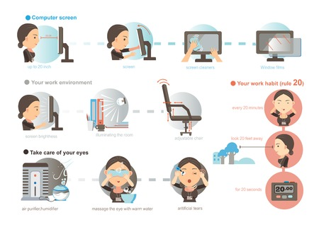 Working women Prevention of Eye Fatigue.illustrations ,cartoon,vector
