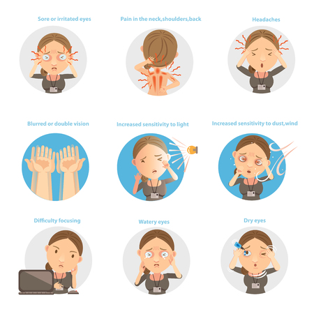 Symptoms of Eye Fatigue vector illustration.