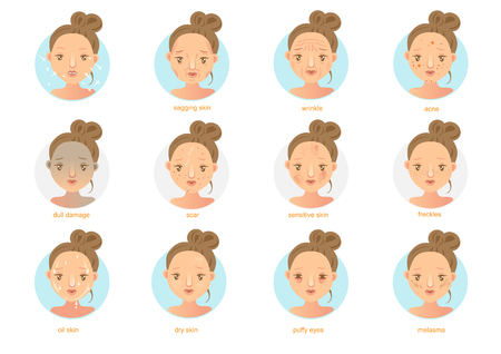 Skin problems.Vector illustrations Stock Illustratie