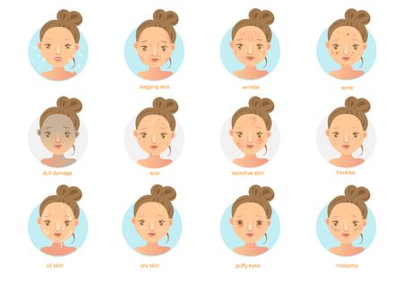 Problemas de la piel. Ilustraciones de vectores Foto de archivo - 91422627