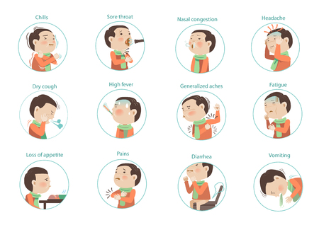 flu symptoms (influenza)kids Character sets. vectors illustrations 免版税图像 - 91427315