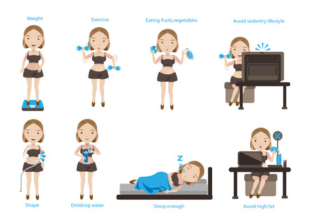 Way of healthy living and health care. Vector illustrations