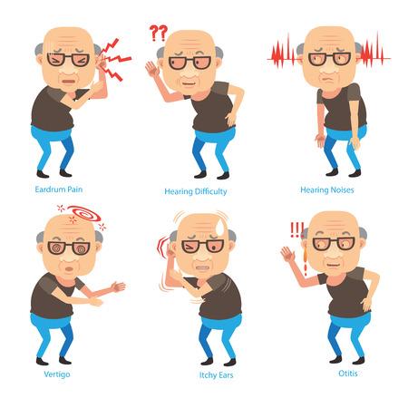 Ohrprobleme des alten Mannes, die sein Ohr schalen und Schwerhörigkeit haben. Cartoon-Vektor-Illustration