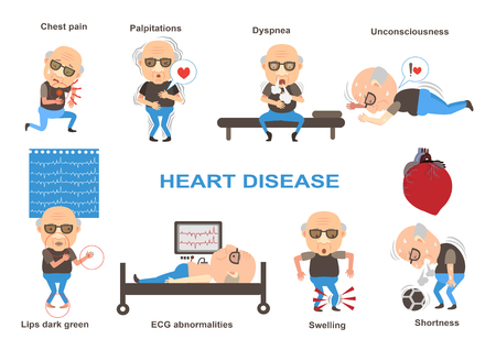 Symptoms of heart disease and acute pain possible heart attack info graphics. Vector illustrations