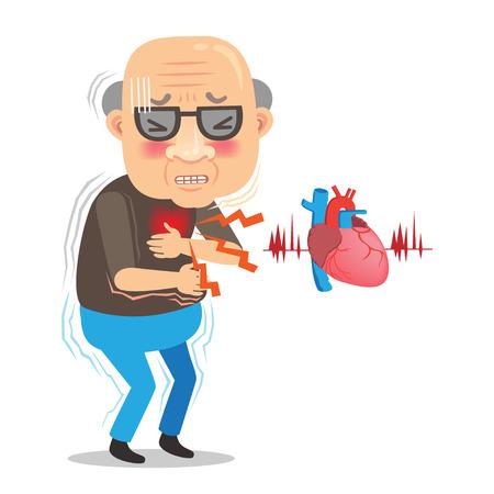 Herzinfarkt Symptom . Mit dem schmerzenden Herz hält seinen Mittelfinger mit Schmerzen isoliert auf weißem Hintergrund . Cartoon Vektor-Illustrationen