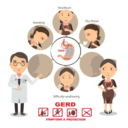 Heartburn symptoms Info Graphic, vector illustration Illustration