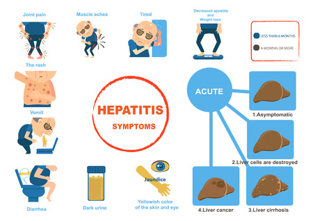 hepatitis symptoms  liver disease gastroenteritis. Info graphics. Vector illustration