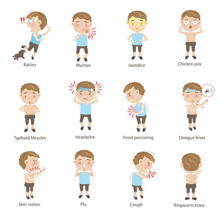 Sick child character set Cartoon Vector illustration.