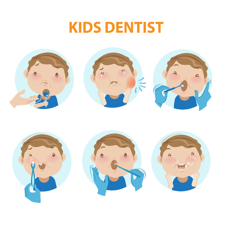 Little boy opening his mouth wide to the dentist examination of the oral cavity.vector illustrations  イラスト・ベクター素材