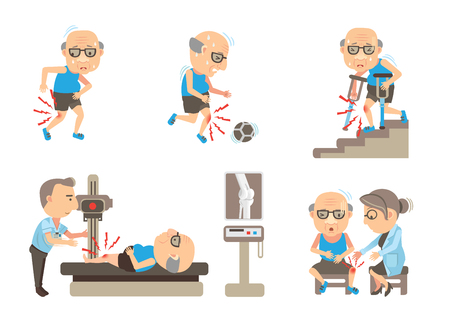 Seniors Knee Pain cartoon vector illustration