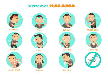 Man with malaria symptoms Infographic in the circle.