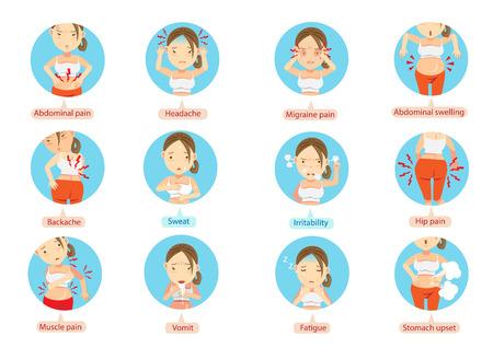 Dolor de menstruación o dolor de estómago. Personaje de dibujos animados de las mujeres en el círculo ilustración vectorial.