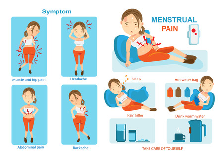 Treatment of menstrual pain, pain Info Graphic. Vector illustration. Illustration