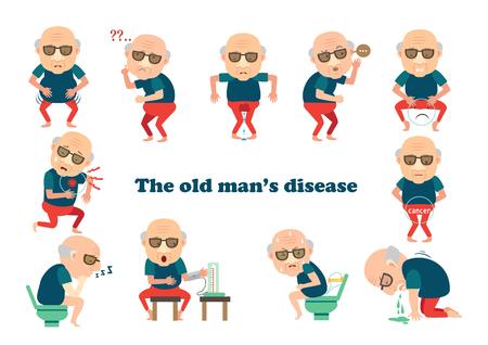 Mann krank, Krankheit des alten Mannes Info-Grafik. Vektor-illustration
