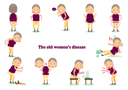 Old woman's disease. Women with chronic illness with her. Vector cartoon illustrations.