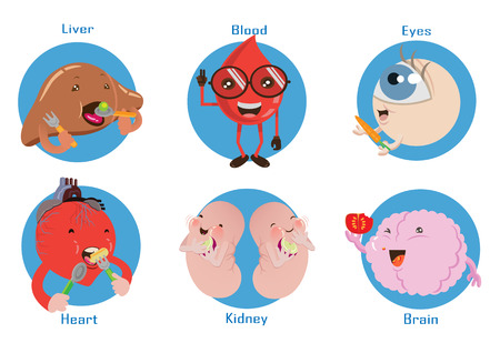 Organs visceral eat happy meals. Cartoon vector Illustration set of characters. Illustration