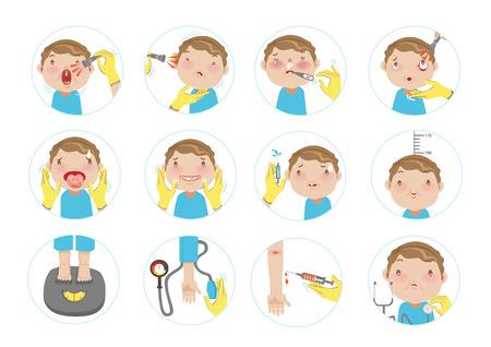 Main, docteur, examiner, patient, garçon Le concept de soins de santé. Illustration de dessin animé de vecteur