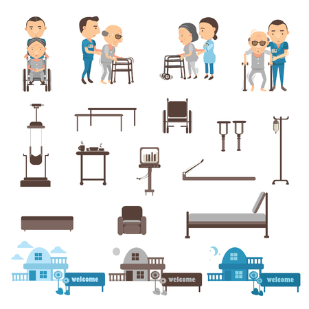 Occupational therapy, physiotherapy equipment vector illustration