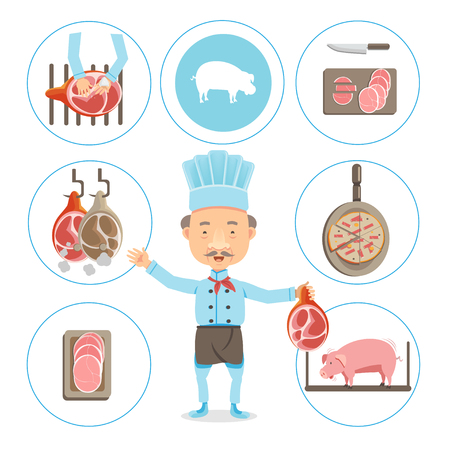 Ham production,Cook ham, pork production Vector illustration in the circle Illustration