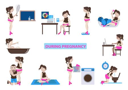 during pregnancy .vector illustration Çizim