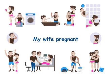 Pregnant couple  Care for pregnant wife.Vector Set husband take care of his pregnant wife, cartoon illustration