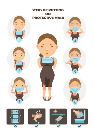 Steps of putting on protective mask .Woman wearing surgical masks in a circle cartoon vector illustration.