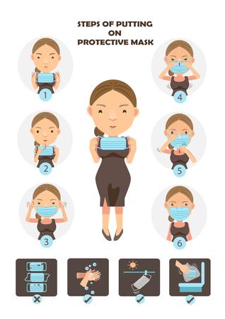 Stappen om beschermend masker op te zetten Vrouw die chirurgische maskers in een vectorillustratie van het cirkelbeeldverhaal dragen. Stock Illustratie