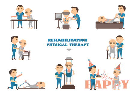 physical therapy is working caregivers. Cartoon vector illustration.