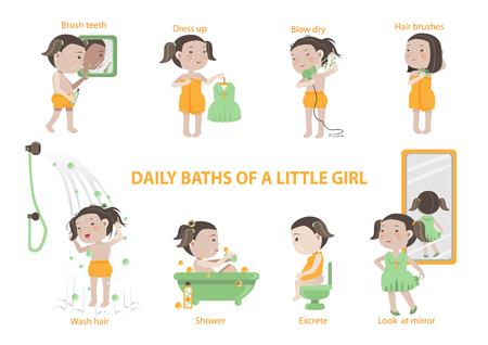 Daily baths of a little girl  infographic.Vector Illustration set of characters