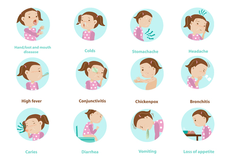 Sick characters set of Children 12 diseases isolated vector illustration Çizim