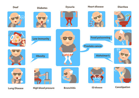 Alter Mann krank. Älterer Mann von Symptomen Infographic Auch im corel abgehobenen Betrag Vektorgrafik