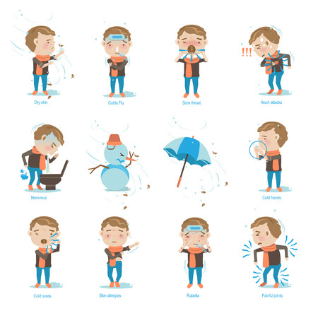 Sick boy was cold.Vector illustrations Vectores