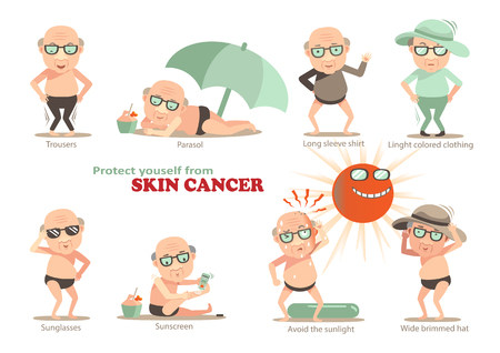cancer prevention in patients with carcinoma of the skin.Info graphics, vector, illustrations