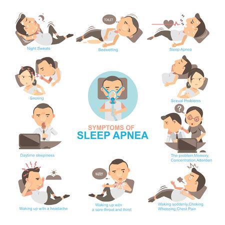 Uomo Sintomi e segni di apnea nel sonno L'impatto sulla vita coniugale e sul suo lavoro. Informazioni grafiche vettoriali