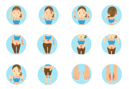 Sick woman main areas of the human body affected by psoriasis. Cartoon vector illustration
