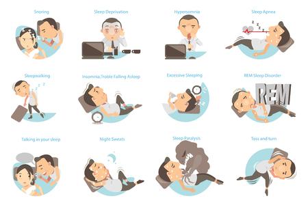 Mężczyzna z problemami ze snem. Ilustracji wektorowych Ilustracje wektorowe
