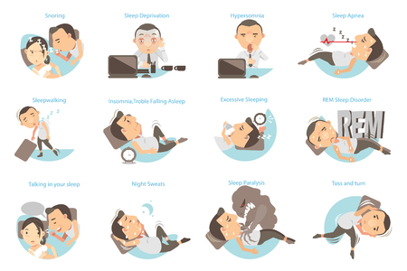 Man with sleep problems. Vector illustration Stock Illustratie