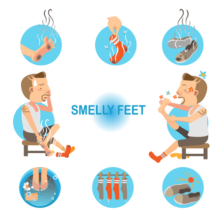 Cartoon man unpleasant odor of socks and sneakers on his feet. Vector illustration Stock Illustratie