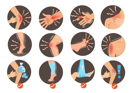 Symptôme d'entorses et foulures Premiers soins. Parties du corps dans le cercle isolé sur blanc